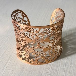 Jewelry - Detailed Thick Cuff Bangle Bracelet Copper Tone